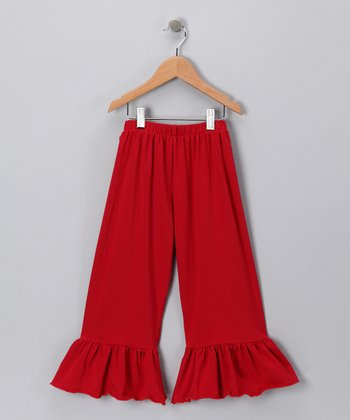 Red Ruffle Capri Pants - Girls