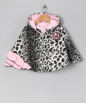Snow Leopard Ruffle Poncho - Infant, Toddler & Girls