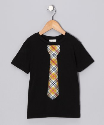 Black & Yellow Plaid Tie Tee - Infant, Toddler & Boys