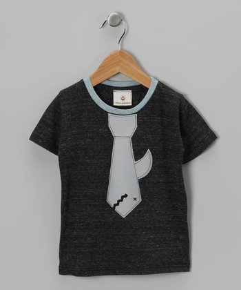 Charcoal Shark Tie Tee - Toddler & Kids