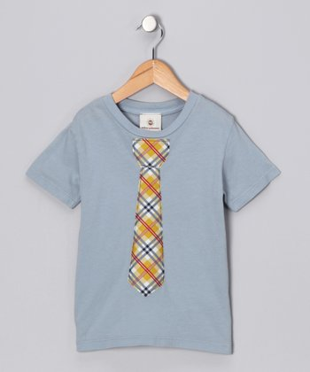 Gray & Yellow Plaid Tie Tee - Infant, Toddler & Boys