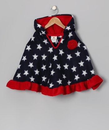 Blue Patriotic Poncho - Girls
