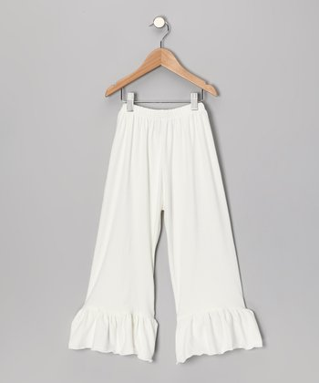 Light Ivory Ruffle Capri Pants - Toddler & Girls