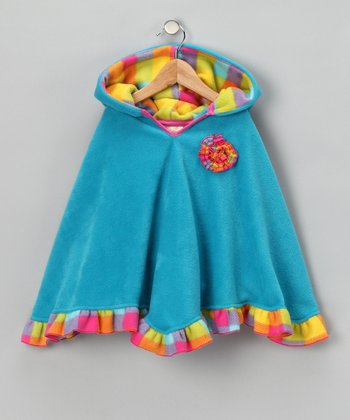 Turquoise & Yellow Plaid Poncho - Infant, Toddler & Girls
