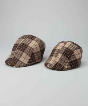 Brown Plaid Daddy & Me Newsboy Hat Set