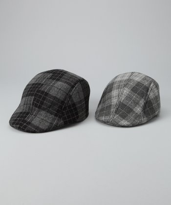 Gray Plaid Daddy & Me Newsboy Hat Set