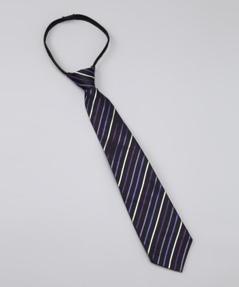 Purple & Navy Stripe Matt Tie