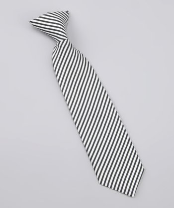 White & Black Stripe Shawn Tie