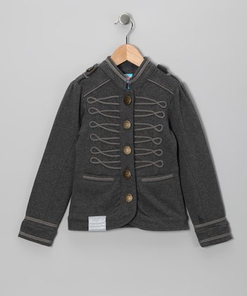 Gray Military Jacket - Toddler & Girls