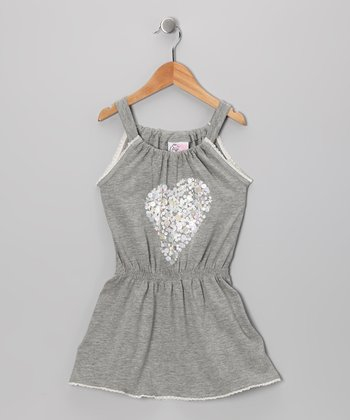 Gray Sequin Heart Dress - Toddler & Girls