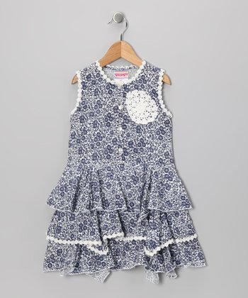 Blue & White Floral Ruffle Dress - Toddler & Girls