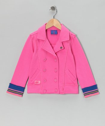 Pink Double-Breasted Jacket - Toddler & Girls