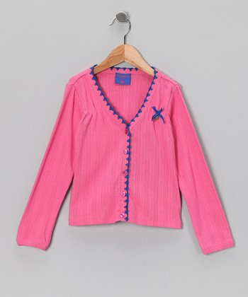 Pink Bow Scallop Cardigan - Toddler & Girls