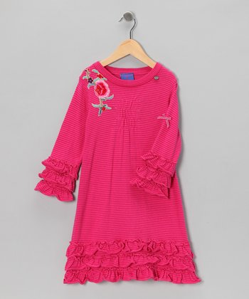 Pink Stripe Floral Ruffle Dress - Toddler & Girls