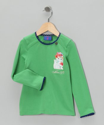 Green Kitten Tee - Toddler & Girls