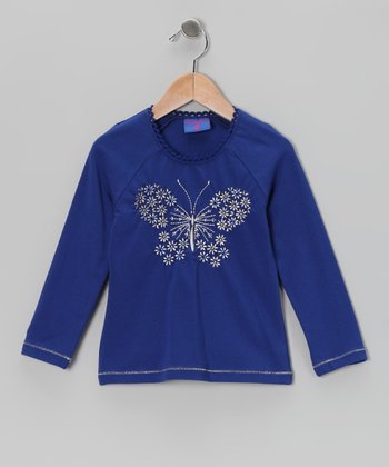 Blue Floral Butterfly Tee - Toddler & Girls