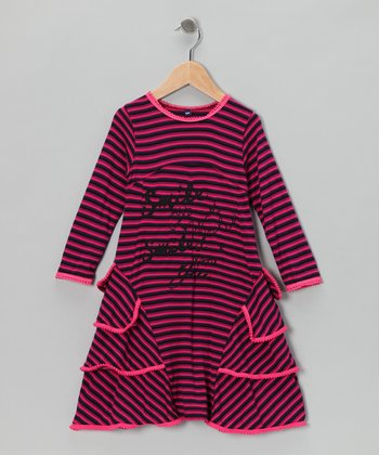 Pink Stripe 'Smile' Dress - Toddler & Girls