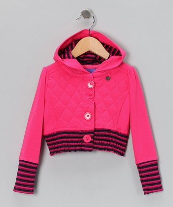Pink Quilted Button-Up Hoodie - Toddler & Girls