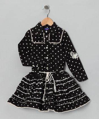 Black Polka Dot Ruffle Button-Up Dress - Toddler & Girls