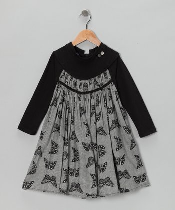 Black & Gray Butterfly Dress - Toddler & Girls