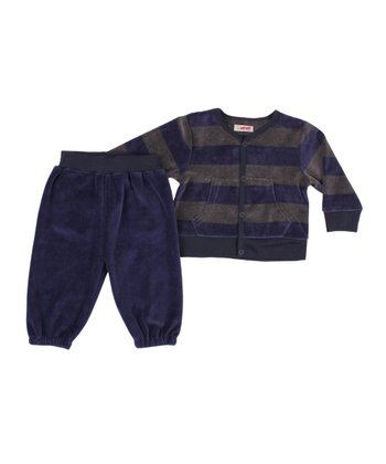 Gray & Blue Stripe Velvet Top & Pants - Infant