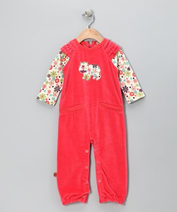 Hot Pink Velour Playsuit - Infant