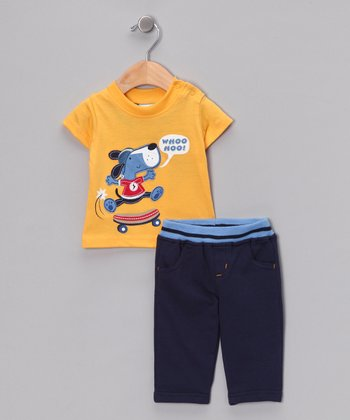 Yellow 'Whoo Hoo!' Tee & Pants
