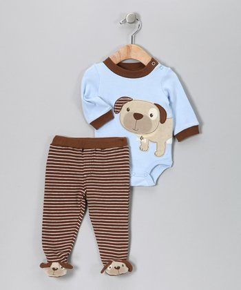 Brown Puppy Bodysuit & Footie Pants