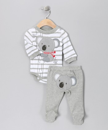 Gray Stripe Koala Bodysuit & Footie Pants