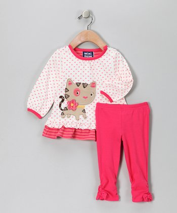 Pink Heart Polka Dot Kitten Tunic & Leggings