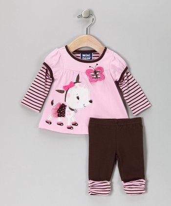 Pastel Pink Puppy Layered Tunic & Leggings