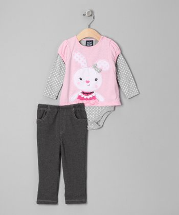 Light Pink Bunny Layered Bodysuit & Pants