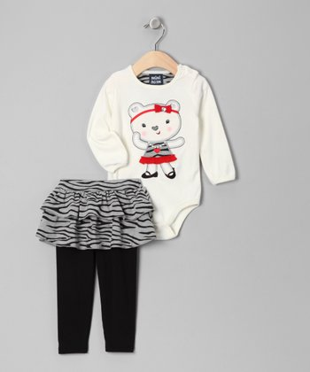 White Bear Bodysuit & Skirted Leggings