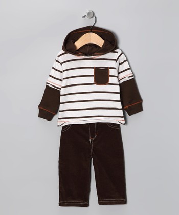 Brown Stripe Layered Tee & Corduroy Pants