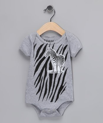 Gray Zebra Bodysuit - Infant