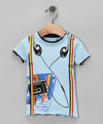 Light Blue Walkman Snap Tee - Infant