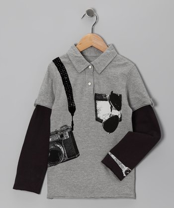 Gray Paparazzi Layered Polo - Infant & Boys
