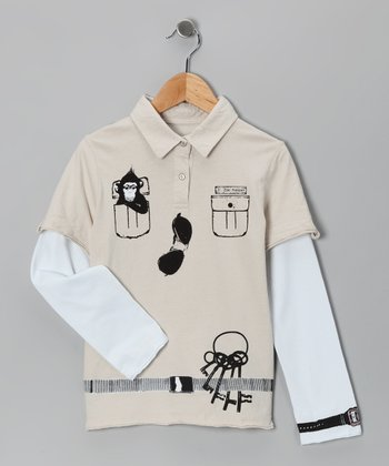 Tan Zookeeper Layered Polo - Infant & Boys