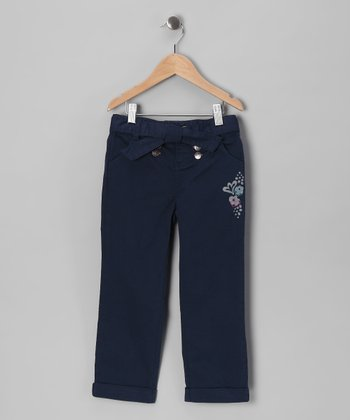 Blue Floral Pants - Girls