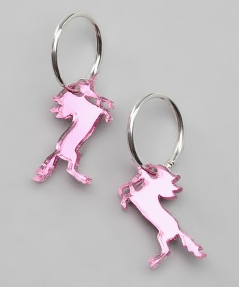 Pink Mirror Unicorn Clip-On Hoop Earrings