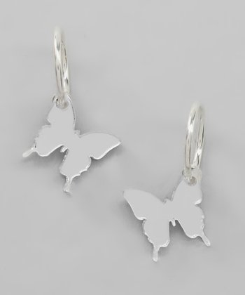 Silver Mirror Butterfly Clip-On Hoop Earrings