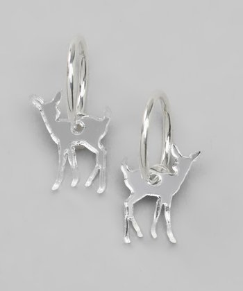 Silver Mirror Deer Clip-On Hoop Earrings
