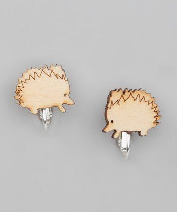 Brown Birch Hedgehog Clip-On Stud Earrings