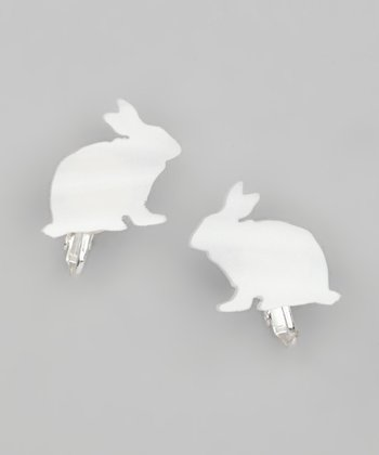 Pearl White Bunny Clip-On Stud Earrings