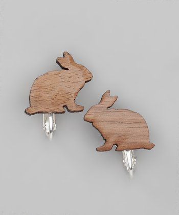 Brown Walnut Squirrel Clip-On Stud Earrings