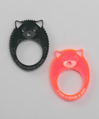 Pink & Gray Hedgehog Ring Set