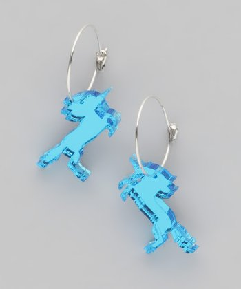 Blue Mirror Unicorn Hoop Earrings