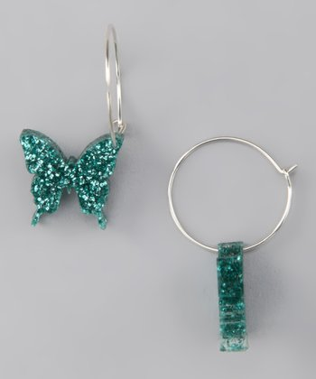 Ice Blue Butterfly Hoop Earrings