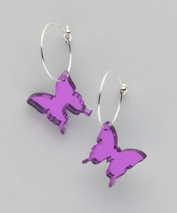 Purple Mirror Butterfly Hoop Earrings