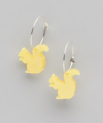 Yellow Pearl Sterling Silver Squirrel Hoop Earrings
